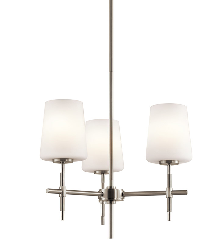 Kichler 43084NI Arvella Collection Semi Flush/Chandelier 3 Light in Brushed Nickel