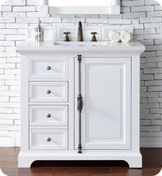 "James Martin 238-105-V36-BW Providence 36"" Single Bathroom Vanity in Bright White Finish"