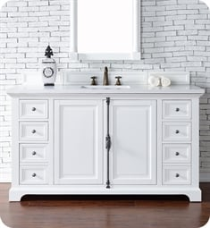 "James Martin 238-105-V60S-BW Providence 60"" Single Bathroom Vanity in Bright White Finish"