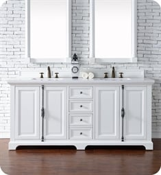 "James Martin 238-105-V72-BW Providence 72"" Double Bathroom Vanity in Bright White Finish"