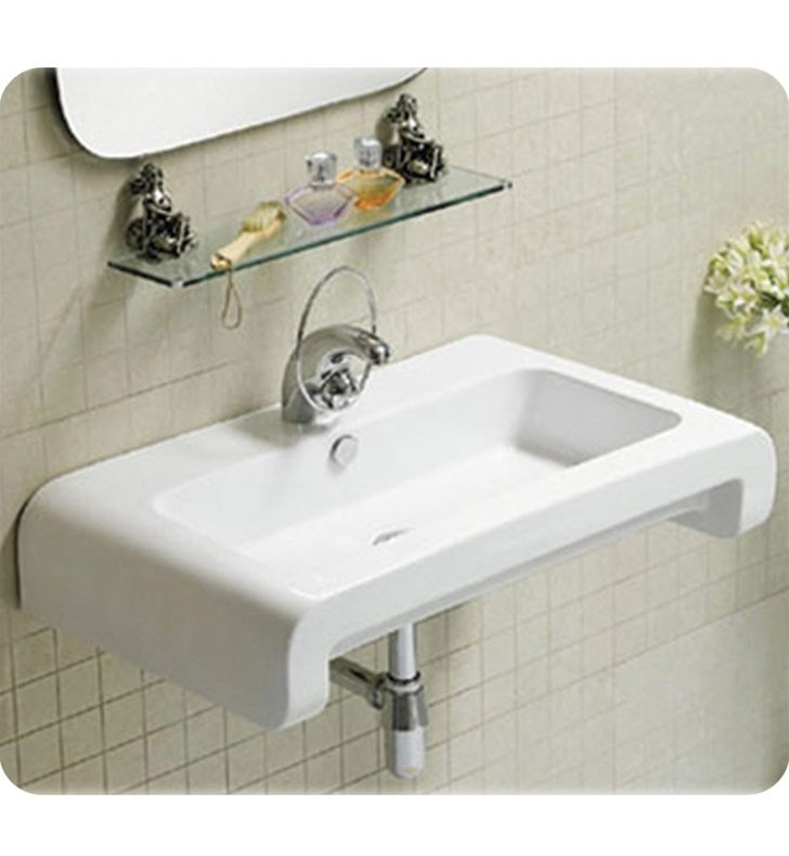 Whitehaus WHKN1130 Rectangular Wall Mount Basin with Overflow and Rear Center Drain - Isabella Series