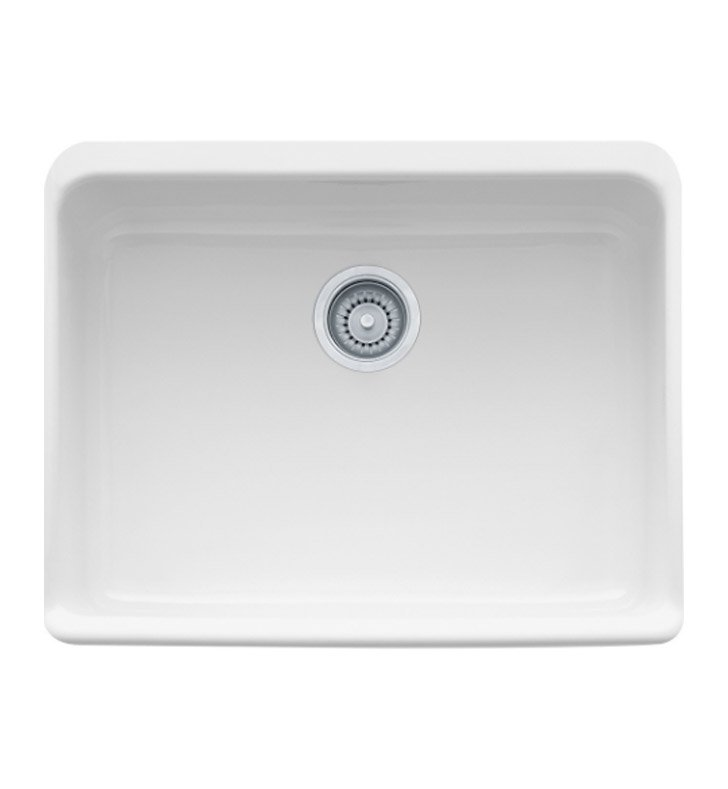 "Franke MHK110-24WH Manor House 23 5/8"" Single Basin Apron Front Fireclay Kitchen Sink"
