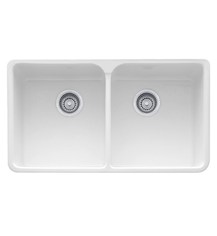 "Franke MHK720-35WH Manor House 35 5/8"" Double Basin Apron Front Fireclay Kitchen Sink With Finish: White"