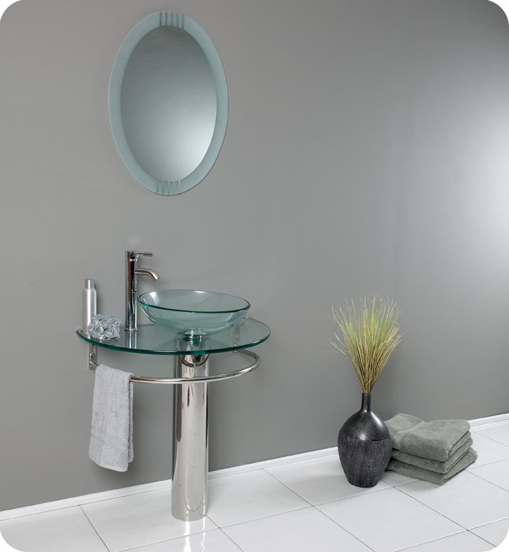 Fresca FVN Attrazione Modern Glass Bathroom Vanity With - Fresca cristallino glass bathroom vanity
