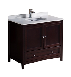 "Fresca FCB2036MH-U Fresca Oxford 36"" Mahogany Traditional Bathroom Cabinet with Top & Sink"