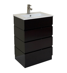 "Fresca FCB6124ES-I Amato 24"" Espresso Modern Bathroom Cabinet with Integrated Sink"
