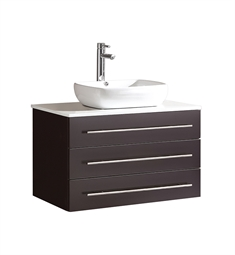 "Fresca FCB6183ES-CWH-V Modello 32"" Espresso Modern Bathroom Cabinet with Top & Vessel Sink"