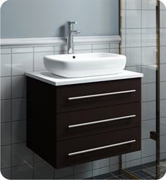 "Fresca FCB6185ES-VSL-I Modella 24"" Espresso Wall Hung Modern Bathroom Cabinet with Top & Vessel Sink"