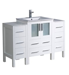 "Fresca FCB62-122412WH-I Torino 48"" White Modern Bathroom Cabinets with Integrated Sink"