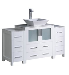 "Fresca FCB62-123012WH-CWH-V Torino 54"" White Modern Bathroom Cabinets with Top & Vessel Sink"