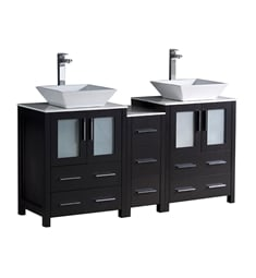 "Fresca FCB62-241224ES-CWH-V Torino 60"" Espresso Modern Double Sink Bathroom Cabinets with Tops & Vessel Sinks"