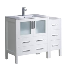 "Fresca FCB62-3012WH-I Torino 42"" White Modern Bathroom Cabinets with Integrated Sink"