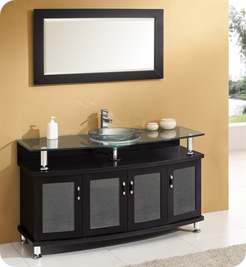 "Fresca FVN3319ES Contento 55"" Modern Bathroom Vanity with Mirror in Espresso"
