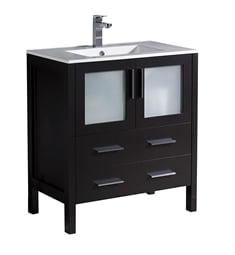 "Fresca FCB6230ES-I Torino 30"" Espresso Modern Bathroom Cabinet with Integrated Sink"