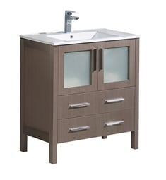 "Fresca FCB6230GO-I Torino 30"" Grey Oak Modern Bathroom Cabinet with Integrated Sink"