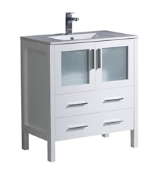 "Fresca FCB6230WH-I Torino 30"" White Modern Bathroom Cabinet with Integrated Sink"