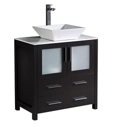 "Fresca FCB6230ES-CWH-V Torino 30"" Espresso Modern Bathroom Cabinet with Top & Vessel Sink"