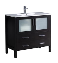 "Fresca FCB6236ES-I Torino 36"" Espresso Modern Bathroom Cabinet with Integrated Sink"