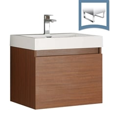 "Fresca FCB8006TK-I Nano 24"" Teak Modern Bathroom Cabinet with Integrated Sink"