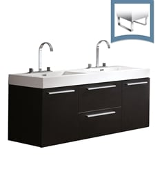 "Fresca FCB8013BW-I Opulento 54"" Black Modern Double Sink Bathroom Cabinet with Integrated Sinks"
