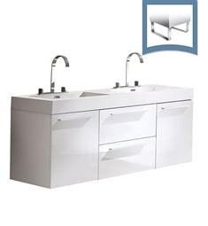 "Fresca FCB8013WH-I Opulento 54"" White Modern Double Sink Bathroom Cabinet with Integrated Sinks"