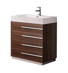 "Fresca FCB8030GW-I Livello 30"" Walnut Modern Bathroom Cabinet with Integrated Sink"