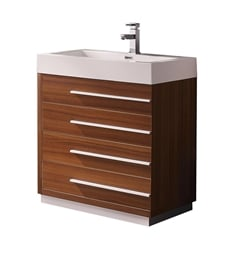 "Fresca FCB8030TK-I Livello 30"" Teak Modern Bathroom Cabinet with Integrated Sink"