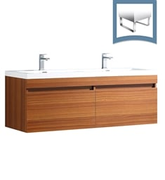 "Fresca FCB8040TK-I Largo 57"" Teak Modern Double Sink Bathroom Cabinet with Integrated Sinks"