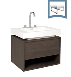 "Fresca FCB8070GO-I Potenza 28"" Gray Oak Modern Bathroom Cabinet with Vessel Sink"