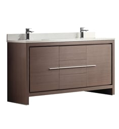 "Fresca FCB8119GO-CWH-U Allier 60"" Gray Oak Modern Double Sink Bathroom Cabinet with Top & Sinks"