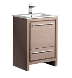 "Fresca FCB8125GO-I Allier 24"" Gray Oak Modern Bathroom Cabinet with Sink"