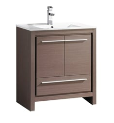 "Fresca FCB8130GO-I Allier 30"" Gray Oak Modern Bathroom Cabinet with Sink"