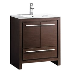 "Fresca FCB8130WG-I Allier 30"" Wenge Brown Modern Bathroom Cabinet with Sink"