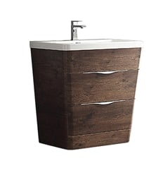 "Fresca FCB8532RW-I Milano 32"" Rosewood Modern Bathroom Cabinet with Integrated Sink"