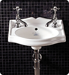 Whitehaus AR035 Small Rectangular Wall Mount Basin with Overflow and Integrated Oval Bowl - China Series
