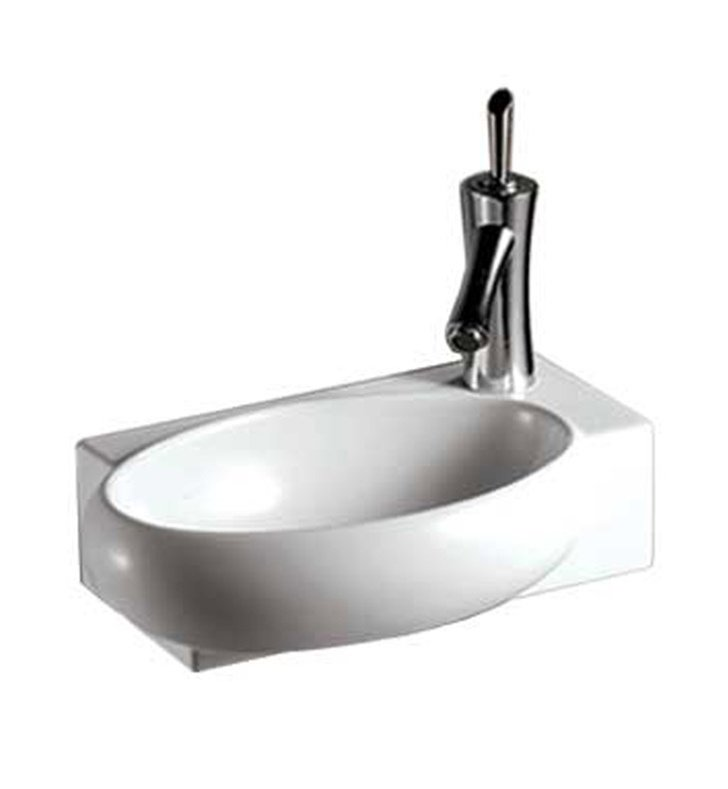 Whitehaus WHKN1136 Rectangular Wall Mount Basin with Integrated Oval Bowl - Isabella Series