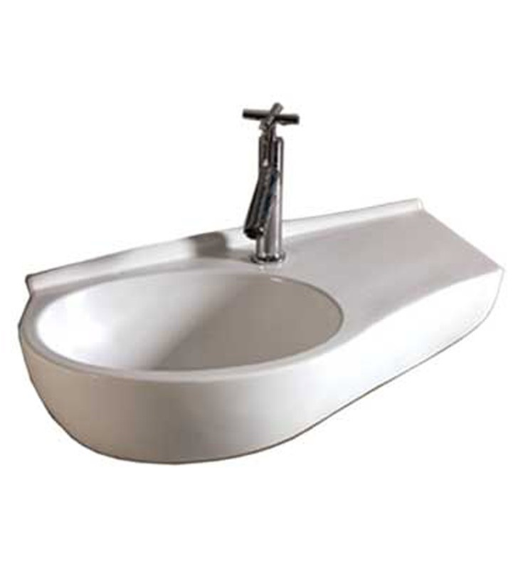 Whitehaus WHKN1120 Curve Shape Wall Mount Basin with Integrated Oval Bowl and Center Drain - Isabella Series