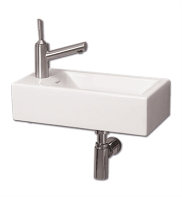 Whitehaus WH1-114L Wall Mount Basin with Center Drain and Left Side Drilling for Single Hole Faucet - Isabella Series