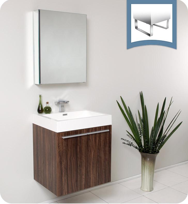Fresca fvn8058gw alto 23 walnut modern bathroom vanity with medicine cabinet