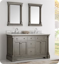 "Fresca FCB2260SA Kingston 61"" Antique Silver Double Sink Traditional Bathroom Cabinet"