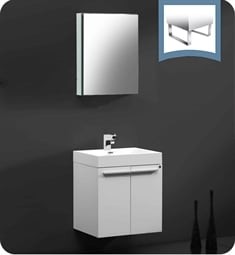 "Fresca FVN8058WH Alto 23"" White Modern Bathroom Vanity with Medicine Cabinet"