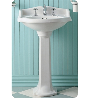 Whitehaus AR814-AR815 Small Traditional Pedestal with Overflow and Integral Oval Bowl - China Series