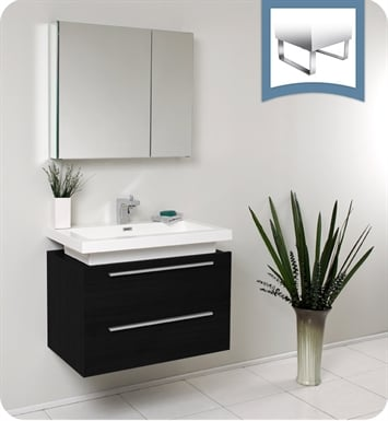 "Fresca FVN8080BW Medio 32"" Black Modern Bathroom Vanity with Medicine Cabinet"