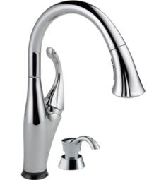 "Delta 9192T Addison 15 3/8"" Single Handle Pull-Down Kitchen Faucet with Touch2O Technology and Soap Dispenser"