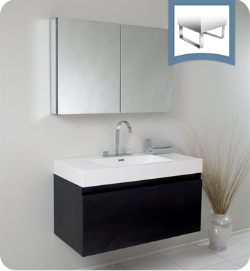 Fresca FVN8010BW Mezzo Modern Bathroom Vanity with Medicine Cabinet in Black