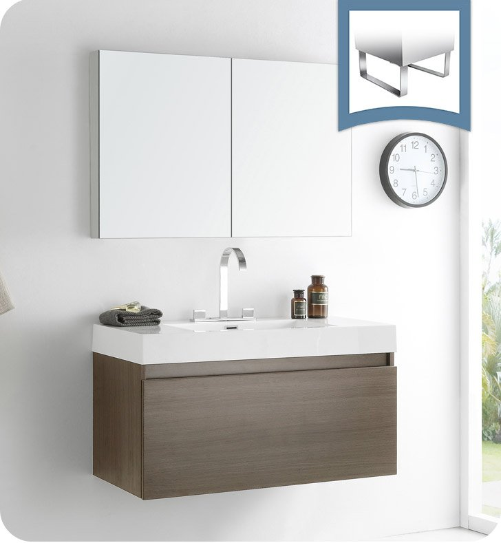 Fresca FVNGO Mezzo Modern Bathroom Vanity With Medicine Cabinet - Bathroom vanity and medicine cabinet