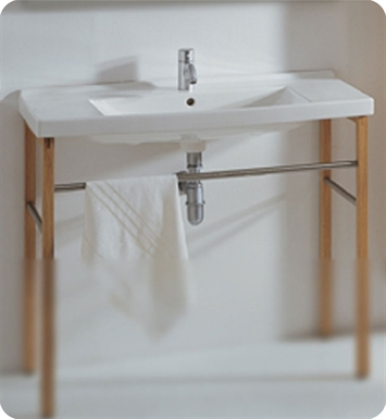 Whitehaus LU040-LUA7 Large Rectangular Console with Chrome Overflow and Towel Bar - China Series