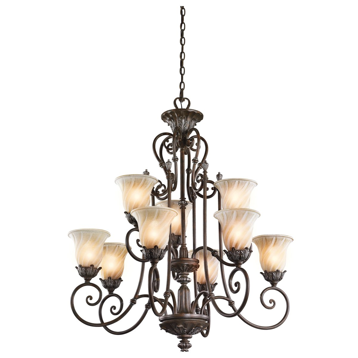 Kichler 42511LZ Sarabella Collection Chandelier 9 Light in Legacy Bronze