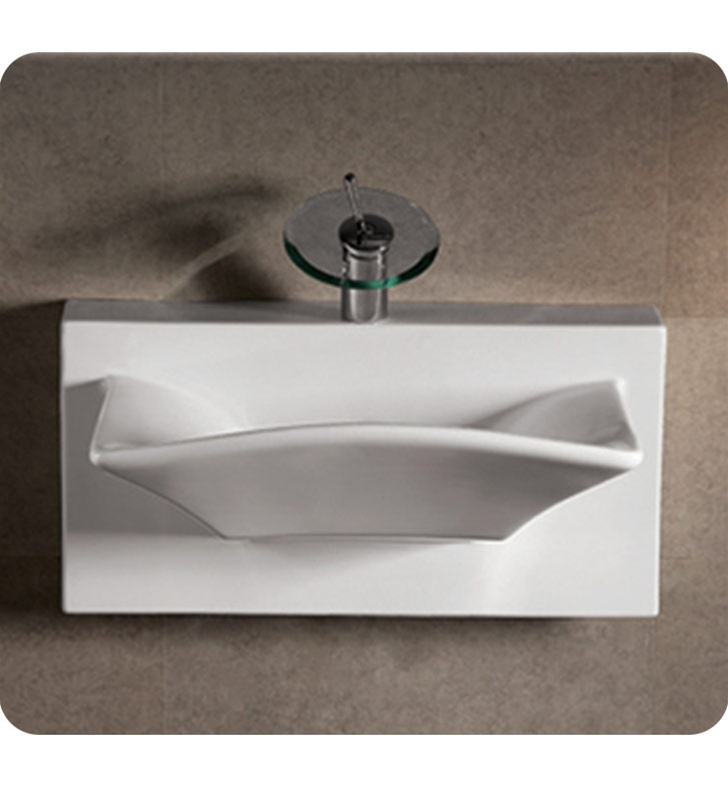 Whitehaus WHKN1114A Rectangular Wall Mount Basin with Integrated Rectangular Bowl and Rear Center Drain - Isabella Series