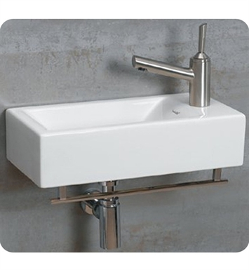Whitehaus WH1-114RTB Wall Mount Basin with Chrome Towel Bar and Right Side Drilling for Single Hole Faucet - Isabella Series